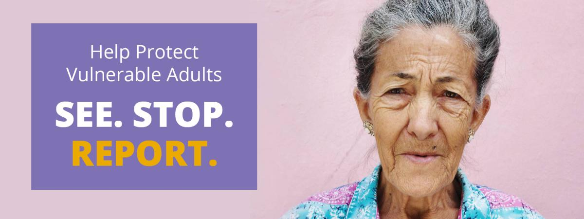 Help protect vulnerable adults. See. Stop. Report.