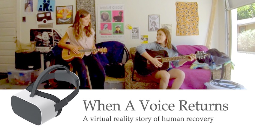 When a Voice Returns. A virtual reality story of human recovery. Photo of two women playing guitars in a garage.