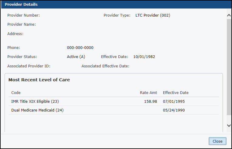 Screen shot of Provider Details page. display Facility name address phone  and rates.