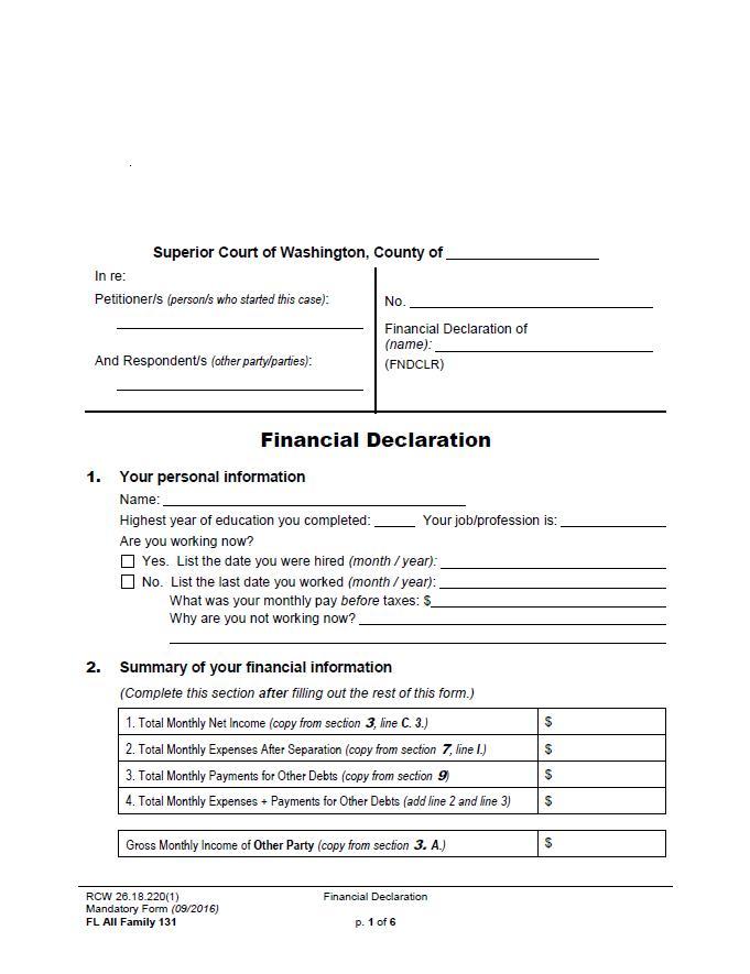 Superior Court form image