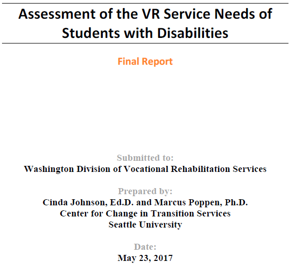 Image Assessment of the VR Service Needs of Student with Disabilities.