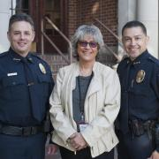 Lakewood Police Chief Michael Zaro, Western State Hospital CEO Cheryl Strange and Steilacoom Department of Public Safety Chief T.J. Rodriguez