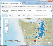 Map of Assisted Living Facilities at ArcGIS Online