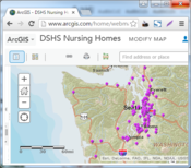 Map of Nursing Homes at ArcGIS Online