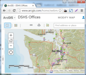 Map of DSHS Offices at ArcGIS Online