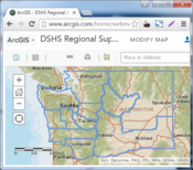 Map of DSHS Regions at ArcGIS Online