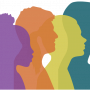 Dismantle Poverty image of four faces in purple-orange-yellow-teal silhouette